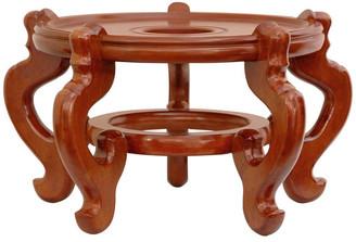"Oriental Furniture Rosewood Fishbowl Stand, Honey, Size 12.5"" Base Diameter"
