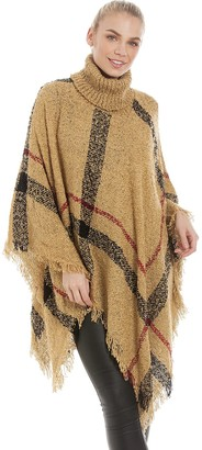 Central Chic Women's Polo Neck Tartan Checked Poncho Cape Knitwear Outerwear Jacket Coat in Camel & Black (Camel)