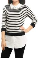 Allegra K Women's Striped Paneled Long Sleeves Layered Tunic Shirt L White