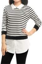 Allegra K Women's Striped Paneled Long Sleeves Layered Tunic Shirt XS White
