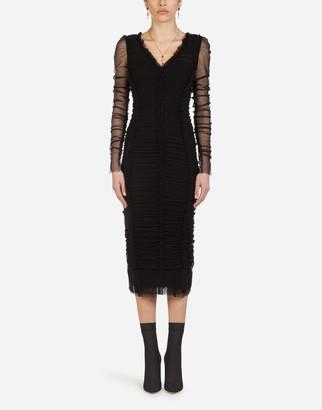 Dolce & Gabbana Draped Stretch Tulle Dress