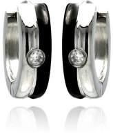 SURANO DESIGN JEWELRY Stainless Steel Black Enamel Single CZ Stone Hoop Earrings