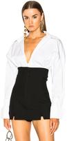 Jacquemus Cuffed Shirt in Stripes,White.