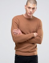 Farah Sweater With Honeycomb Texture In Slim Fit Camel