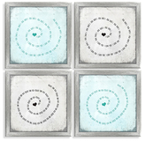 PTM Images Swirl Type (Inverse Framed Giclee) (Set of 4)
