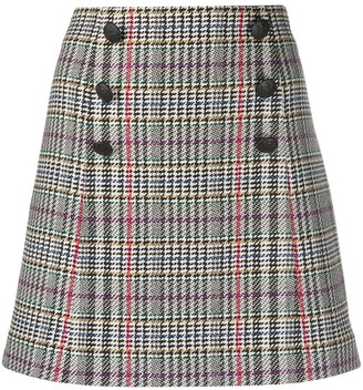 Veronica Beard Starck houndstooth check mini skirt
