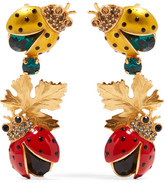Dolce & Gabbana Gold-plated, Crystal And Enamel Clip Earrings - one size
