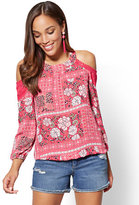New York & Co. Mixed-Print Cold-Shoulder Blouse