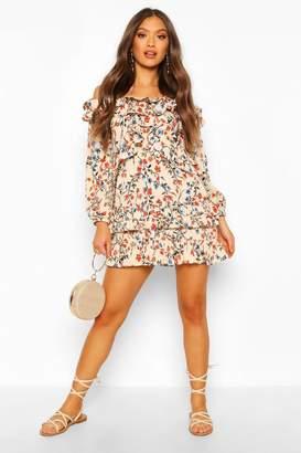 boohoo Floral Off Shoulder Ruffle Detail Mini Dress
