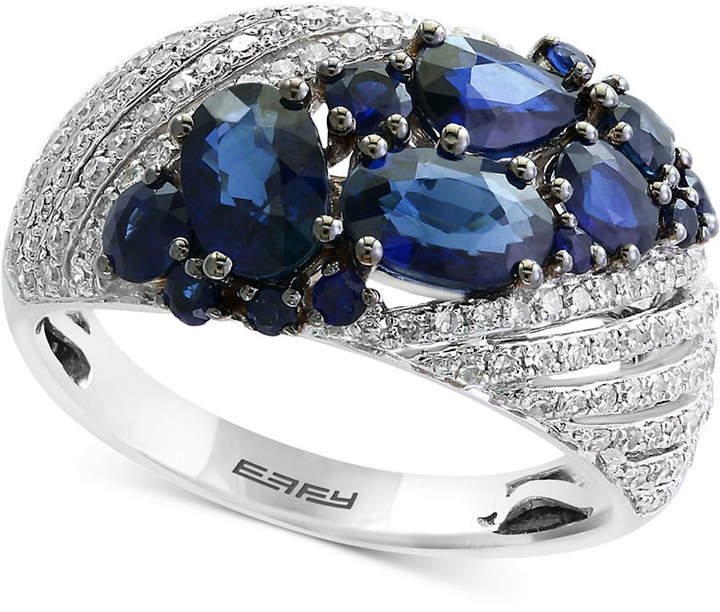 Effy Royale Bleu by Sapphire (2-1/10 ct. t.w.) and Diamond (3/8 ct. t.w.) Ring in 14k White Gold