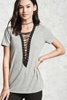 Forever 21 FOREVER 21+ Ribbed Lace-Up Top