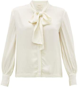 Chufy - Palm Pussybow Crepe Blouse - Womens - White