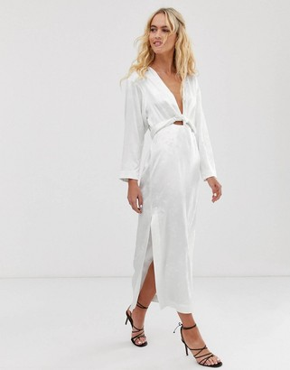 And other stories & floral jacquard maxi dress in white