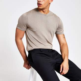 River Island Mens Beige slim fit knitted T-shirt