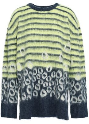 Current/Elliott The Wes Printed Brushed-knitted Sweater