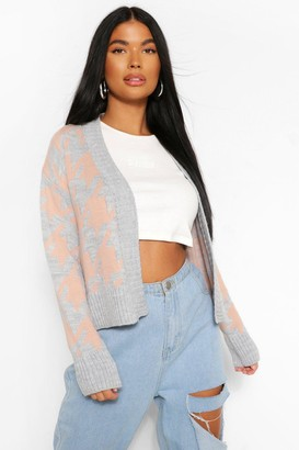 boohoo Petite Cropped Dogtooth Knitted Cardigan