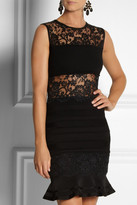Roberto Cavalli Lace and stretch-jersey dress