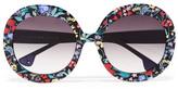 Alice + Olivia Alice Olivia - Melrose Round-frame Floral-print Acetate Sunglasses - Black