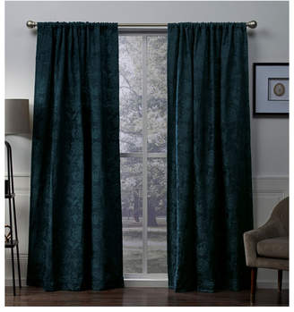 """Exclusive Home Elle Chenille Floral Scroll Woven Blackout Rod Pocket Curtain Panel Pair, 52"""" x 96"""""""