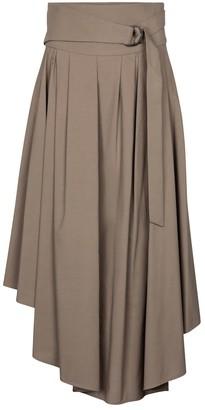 Brunello Cucinelli Pleated cotton midi skirt
