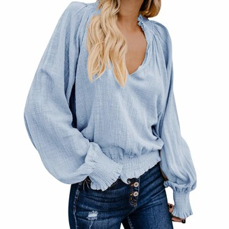 Sunday77 Blouse Women Blouse Top Sunday77 V-Neck Solid Linen Short Puff Sleeve Ruched Loose Long Sleeve Casual Shirt Pullover Blue