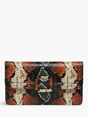 LK Bennett L.K.Bennett Beth Leather Snake Print Clutch Bag, Orange/Green