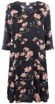 Dorothy Perkins Womens **Juna Rose Curve Navy 3/4 Sleeve Skater Dress