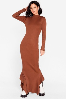 Nasty Gal Womens This Frill Do Ribbed Maxi Dress - Chocolate