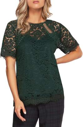 Dex Short-Sleeve Crochet Lace Blouse