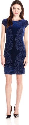 Marina Women's Burnout Placement Sheath Dress with Center Back Zipper