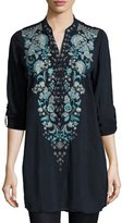 Johnny Was Darling Floral-Embroidered Georgette Tunic, Navy Shadow