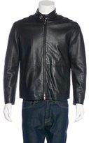 Armani Collezioni Lambskin Mock Neck Jacket