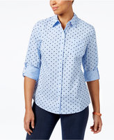 Karen Scott Petite Cotton Dot-Print Gingham Shirt, Only at Macy's