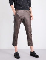 Brunello Cucinelli Straight cropped mid-rise leather jogging bottoms