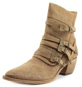 Free People Mason Western Boot Women Pointed Toe Leather Tan Ankle Boot.
