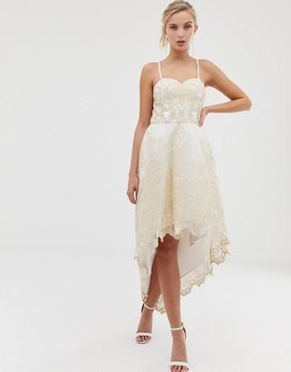 Chi Chi London Premium Lace Bardot Prom Dress with Extreme High Low Hem-Cream