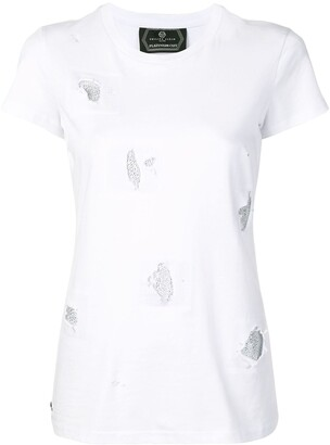 Philipp Plein crystal-embellished distressed T-shirt