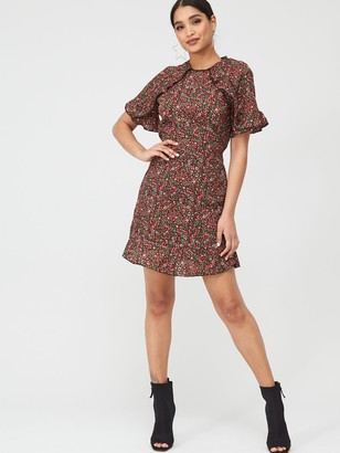 AX Paris Floral Ditsy Frill Arm Day Dress - Red