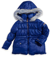 London Fog Girls 2-6x Faux Fur Trimmed Puffer Coat