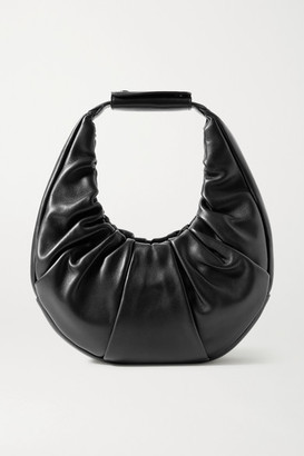 STAUD Moon Ruched Leather Tote - Black