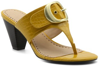 Adrienne Vittadini Polka Thong Toe Stacked Heel Sandal