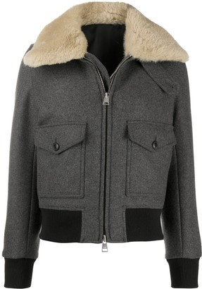 Ami Shearling-Trimmed Aviator Jacket