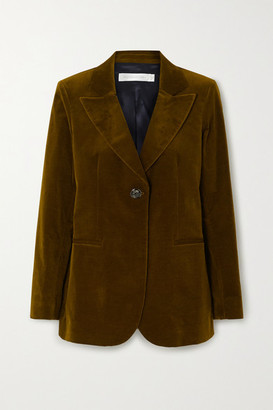Victoria Beckham Cotton-blend Velvet Blazer - Army green