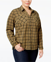 NY Collection Plus Size Paisley-Print Utility Shirt