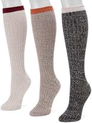 Muk Luks Women's 3-Pair Pack Fluffy Slouch Socks