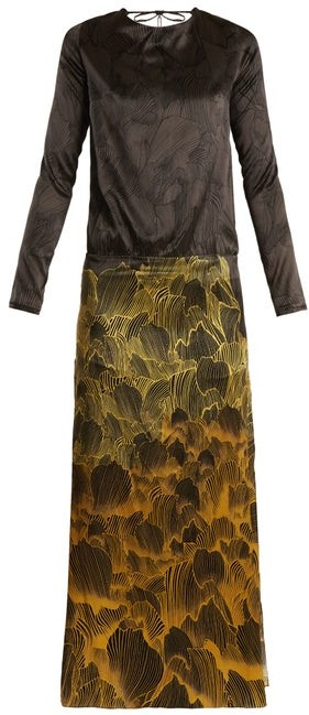 Adriana Iglesias Mermaid Soho Floral Print Stretch Silk Gown - Womens - Black Gold