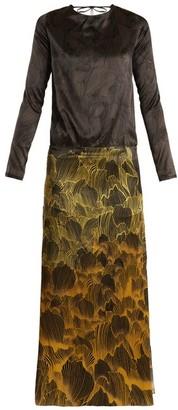 Adriana Iglesias Mermaid Soho Floral-print Stretch-silk Gown - Womens - Black Gold