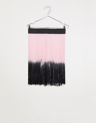 ASOS DESIGN ombre fringe skirt belt in black and pink