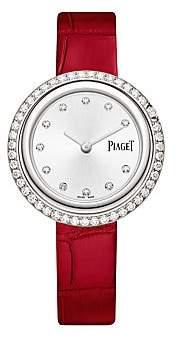 Piaget Women's Possession 18K White Gold & Diamond Red Alligator Strap Watch