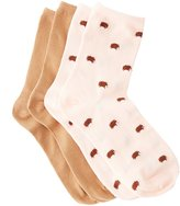 Charlotte Russe Hedgehog Crew Socks - 2 Pack